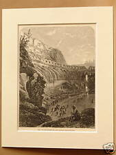 COLOSSEUM ROME ITALY VERY RARE MOUNTED ANTIQUE ENGRAVING FROM c1890 PUBLICATION