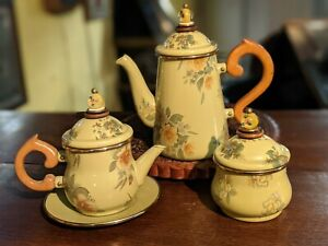 Mackenzie Childs Stacked Yellow Roses Enamel Tea Pot Set with Glass Finials