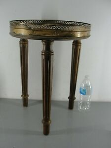 """ROUND WHITE MARBLE TABLE PLANT STAND ❤️ 3 LEG 18"""" TALL BRASS CUTOUT EDGE ANTIQUE"""