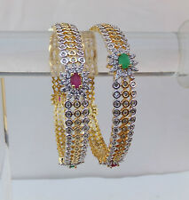 "Simulated Cubic Zirconia Bangles Set Ethnic Golden Ruby Emerald Bracelet 2.10"""