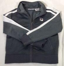 St881 Fila Boys Dark Grey Zip-Up Athletic Jacket Size 5/6