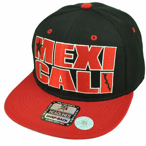 Mexicali City Baja California Mexico Black Red Hat Cap Snapback Flat Bill Gorra