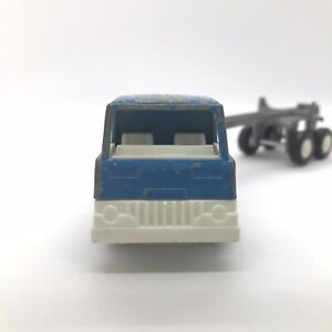 Vintage Tootsietoy Diecast Blue Semi Logging Truck and Trailer 1970 Chicago USA