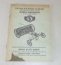 Teilekatalog Hans Glas Gespann-Sämaschinen Isaria-Universal Stand Unbekannt