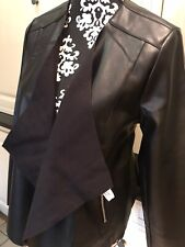 Dorothy Perkins Faux Leather Black Waterfall Jacket Size 16 Was £35.00