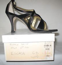 ESCADA WOMEN'S STRAPPY BLACK SATIN HEELS - Shoes Made in Italy 6B