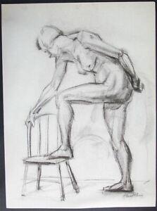 Original 1940's Nude STEWART KLONIS Modernist Students League N.Y.  Female