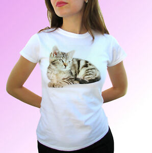 Cat white t shirt animal pussy tee kitty top - mens womens kids baby sizes