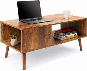 Wooden Mid-Century Modern Coffee Table, Accent Furniture for Living Room, Indoor
