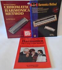 Harmonica Method Lot 3 Books Mel Bay Complete Chromatic Large Print Instruction