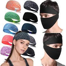 Men's Elastic Cotton Sports Yoga Headbands Bandana Scarf Face Cover Sweatbands