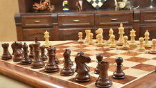 "3"" Weighted Staunton Chess Set Shesham Wood matching 17"" chessboard chessbazaar"