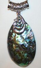 Lovely Rhinestone Swirled Abalone Mother of Pearl Teardrop Pendant Necklace