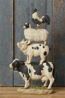 """New Black COW PIG SHEEP ROOSTER STACK FIGURINE Stacked Farm Animal Figure 16"""""""