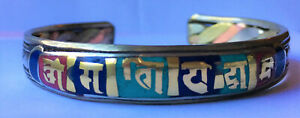 Handcrafted Brass Copper Turquoise Lapis Coral Colour Work done Mantra Bracelet