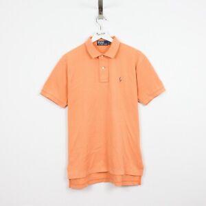 AC34 Vtg Ralph Lauren Polo Men Orange Cotton Short Sleeve Top Shirt Size M