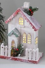 Winterliches Deko Miniatur Haus aus Holz mit LED-Beleuchtung, 40 cm, von Formano