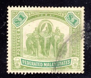 MALAYA STAMP #73 — ELEPHANTS — WMK 4 - 1926 - USED