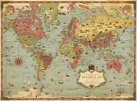 Historic Pictorial Mercator Map of The World History Wall Art Poster Print Decor