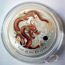 2012 1oz AUSTRALIAN SILVER DRAGON LUNAR SERIES II COLORED RED/GOLD