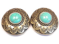 2 - 2 HOLE SLIDER BEADS BRASS WESTERN CONCHO AZTEC TURQUOISE CABS COWBOY COWGIRL