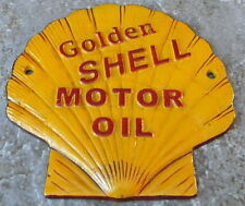 SUPERB HEAVY CAST IRON GOLDEN SHELL MOTOR OIL ADVERTISING SIGN