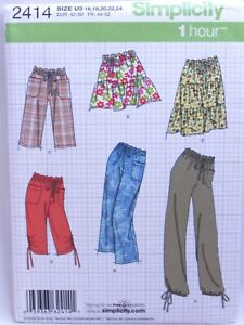 Simplicity 2414 Misses Pants Shorts and Skirts Sewing Pattern Sizes 16-24 Uncut