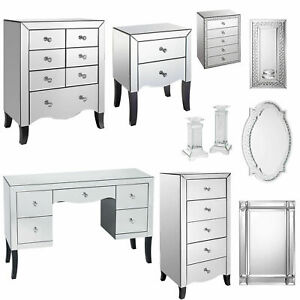 Valentina Mirrored Bedroom Furniture - Wardrobe Bedside Dressing Table Mirrors