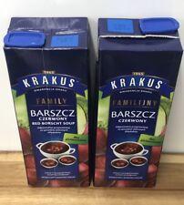 Red Borscht Soup 2 Cartons 2 X 1.5 Litre Polish Beetroot Soup , Not Gazpacho