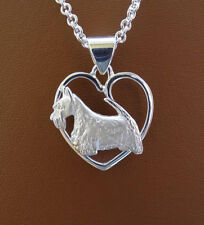 Sterling Silver Scottish Terrier Study On A Heart Frame Pendant