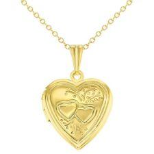 "Gold Tone Small Love Double Heart Photo Locket Pendant Necklace 19"""