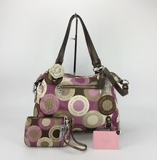 COACH  17582 SNAPHEAD PRINT ALEXANDRA SATCHEL Bag CROSSBODY Purse & Wristlet Set