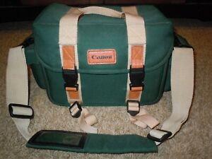 Vintage CANON CAMERA BAG Green Leather Pockets Shoulder Strap Dividerscanvas
