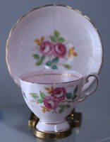 Vintage Tuscan Cup & Saucer England Bone China Pink Roses