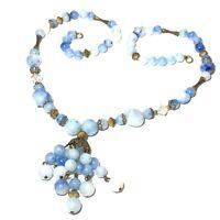 VINTAGE ESTATE Shades Of BLUE Plastic Bead NECKLACE Filigree Cap TASSEL Pendant