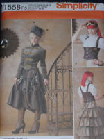 Victorian Steampunk Costume Misses size 14-22 Simplicity 1558 Sewing Pattern