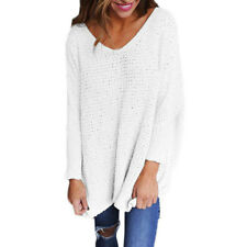 Womens V-neck Jumper Ladies Oversized  Knitted Long Sleeve Sweater Tops Pullover