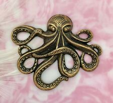 ~ Jewelry Oxidized Finding (E-24) Antique Brass Sea Creature Octopus Stampings
