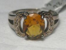 Silver Golden Citrine Colored Ring, Sz. 7, 9.5 by 8MM  Created Stone, Plated