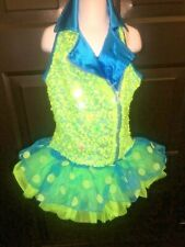 Dance Costume NEON GREEN BLUE SIZE LC HOOD2