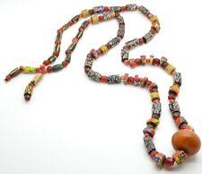 """Antique Bakelite Necklace Rare Unique Millefiori Beads Huge Statement Long 48"""""""