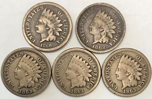 5 EARLY Indian Head Cents 1860, 1862, 1863, 1863, 1863
