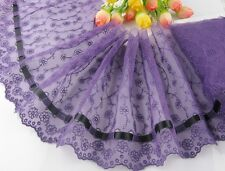 """7.5""""*1yard delicate purple  embroidered flower tulle lace trim with black ribbon"""