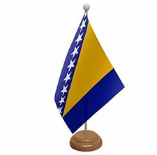 """BOSNIA AND & HERZEGOVINA TABLE FLAG 9""""X6"""" WITH WOODEN BASE FLAGS"""