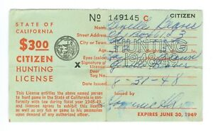 1948 State of California Hunting License with Duck Stamp on Reverse
