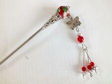 Red dell'era Maji giapponese Fiore Per Capelli Perline STICK PIN delle bacchette cinesi Donna Ragazza