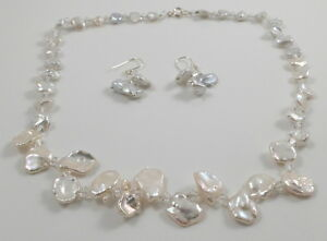 Genuine Keshi Pearl and Swarovski Crystal Beads Choker & Magnetic Clasp