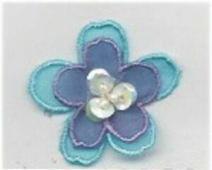 """1 1/4"""" Turquoise Purple Flower w/ Bead Sequin Center Embroidery Patch"""