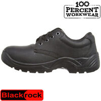 Wide Fitting Hard Wearing Black Leather Work Safety Gibson Shoes Steel Toe Cap