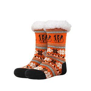 Cincinnati Bengals Womens Fair Aisle Tall Logo Footy Slippers Size 6-10 Non Skid